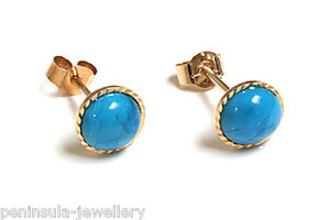 9ct Gold Turquoise 5mm stud Earrings Gift boxed Made in UK Birthday Gift