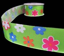 """4 Yards Bright Green Colorful Flowers Wired Ribbon 1 1/2""""W"""