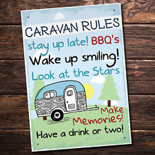 Caravan MotorHome Rules Novelty Gift Plaque Garden Sign Home Retirement FRIEND