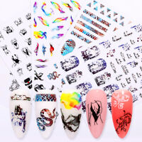 Self-Adhesive 3D Nail Stickers Snake Ribbon  Flower Nail Art Transfer Decals