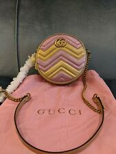 Gucci Gold/pink Quilted GG Marmont Leather Mini Round Shoulder Bag 550154