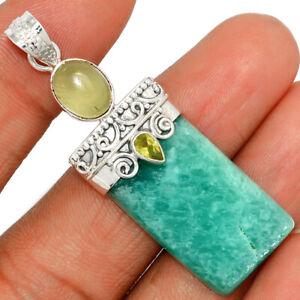Amazonite, Prehnite & Peridot 925 Silver Pendant Jewelry BP67716 232H