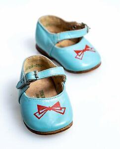 1980s Soviet leather Kinder boy sandal shoes boots blue 10.5 Proletarskaya