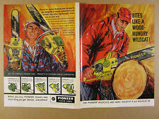 1965 Pioneer Wildcat I & II Chain Saws chainsaw color art vintage print Ad