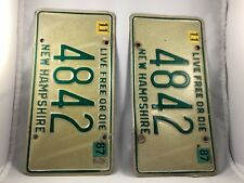 License plates Very low number New Hampshire Collectible 1987 set of 2 plates
