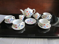 Vintage 14 pc Child Doll Porcelain Teaset Dishes Fireworks Flower MADE IN JAPAN