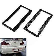 2PC Universal Black Carbon Fiber Printed Style Front/Rear License Plate Frame B4