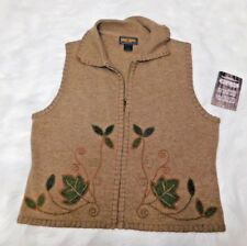 NWT Woolrich Saddle Sweet Sweater Vest Top LAMBSWOOL Medium Floral Boho Hippy