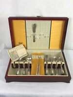Vintage 1847 Rogers Bros Set Of Silverplate Flatware Ancestral in Box Spoons ++