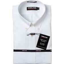 2 x Kirkland Signature 100% Cotton Mens Short Sleeve Button Down Shirt  White  L