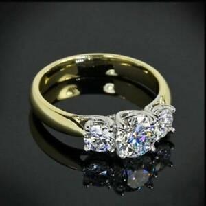 3Ct Round Cut Moissanite 3 Stone Engagement Ring 14k White & Yellow Gold Finish