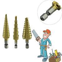 "3X 1/4"" Shank Hex Titanium Coated Spiral Grooved Step Cone Drill Drills Bit # GA"