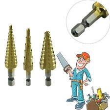 """3X 1/4"""" Shank Hex Titanium Coated Spiral Grooved Step Cone Drill Drills Bit # DH"""