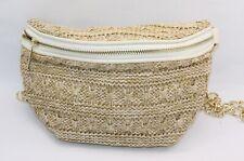 Elegante Boho Damen Bauchtasche Hüfttasche Gürteltasche Stroh Tasche Natur Weiß