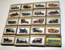 Lot of 19 Vintage empty Match Boxes with Antique Vehicles Cars Labels