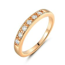 Bridal Jewelry! 18k gold filled Simulated Diamond wedding band ring Sz5-Sz8.5