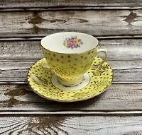 Colclough Bone China Tea Cup & Saucer Set Yellow Gold White Made In England