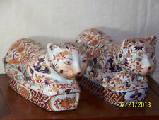 Vintage Chinese Imari Hand Painted Pair of Cats Statue Sculptures Head Pillows