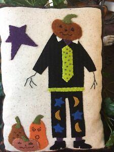 """Prairie Moon """"Poindexter Pumpkin""""  Wool Appliqué Halloween Handmade Pillow"""