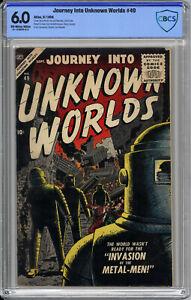 JOURNEY INTO UNKNOWN WORLDS #49  CBCS 6.0 - ROBOT COVER - 1st SILVER AGE - 1956