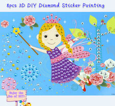 8pcs Large DIY Shining Diamond Stickers Painting Cartoon Kids Crafts Mess-Free
