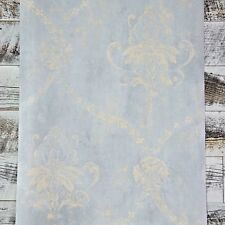 Traditional Blue and Cream Weathered Damask Designer Cottage Chic Wallpaper Diy