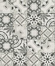 EUR 2,15/qm / Rasch Tapete Crispy Paper 526318 Fliesenoptik Vintage Mosaik Grau