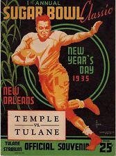 1935 First 1st Sugar Bowl Program Temple Tulane Pop Warner