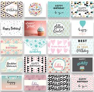 Geburtstagskarten Set, 20x Glückwunschkarten zum Geburtstag, Alles Gute, happy b