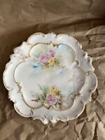 AL Limoges France Porcelain Hand Painted Plate Floral & Gilded Scalloped Edge