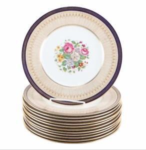 Cauldon FLEUR-DE-LIS Cobalt Blue Floral Dinner Plates Signed E. Rogers ~ 12