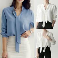 Fashion Women Blouse Office Lacing Tops Bottoming Shirt Chiffon Shirt Elegant HY