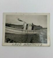 VTG B&W  Picture - Photo of a Man Fishing on his Boat at Lake Athabasca 2.5x3.5""