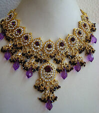 South IndianTraditional Jewellery gold PURPLE stone design necklace set &earring