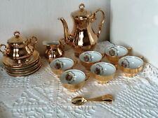 Ancien Service à café, doré, en porcelaine K M BAVARIA et ses cuillère dorées