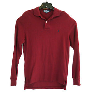 Men's Ralph Lauren Polo Shirt: Long-Sleeve Small MAROON Rugby Pullover Collared