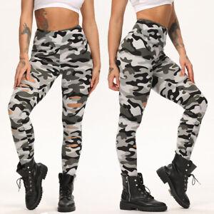 Women Ripped Pants High Waist Stretchy Pants Gym Running Legging Trouser Fashion
