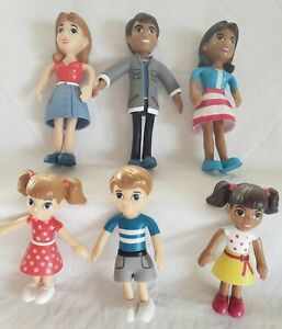 6 Lakeshore  Caucasian Hispanic Doll House Figures Educational Family Child