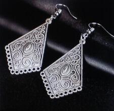 Elegante Vintage Bohemian Damen Ohrringe Ohrhänger Muster Farbe Silber 0001