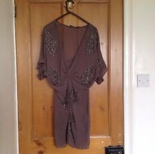 Women's All Saints Silk Dress UK 6 Embellished with Sparkle Party Dress Taupe