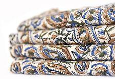 Flower Fabric Cotton Hand Block Print Dress Apparel Fabric Indian 2.5 Yard Decor