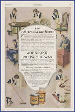 Vintage 1920 JOHNSON'S Prepared Wax Paste Liquid Cleaning Ephemera 20's Print Ad
