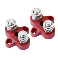 2pcs Bus Bar Electrical Terminal Junction Box 12 volt 2 way dual 150A 2 Stud Red