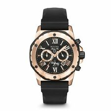 Bulova Marine Star Men's Chronograph Watch Rubber Strap - Rose Gold 98B104