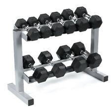Body Power Rubber Hex Dumbbells & Rack 3,4,6,8 & 10Kg