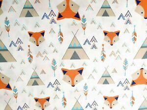 "Fox Feather Native cotton print fabric - 60"" inch 150cm wide - per metre"