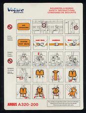 VOLARE Airlines SAFETY CARD A 320 airline memorabilia no Alitalia - sc640 ax