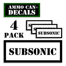 """SUBSONIC Ammo Can 4x Labels Ammunition Case 3""""x1.15"""" stickers decals 4 pack WT"""