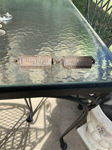 2 Vintage Hamilton Mfg Co. Cast Iron Embossed  Letterpress Tray Drawer Pulls