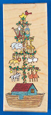 Noah's Tree Rubber Stamp by Stampington - Ark with Animal Christmas Ornaments